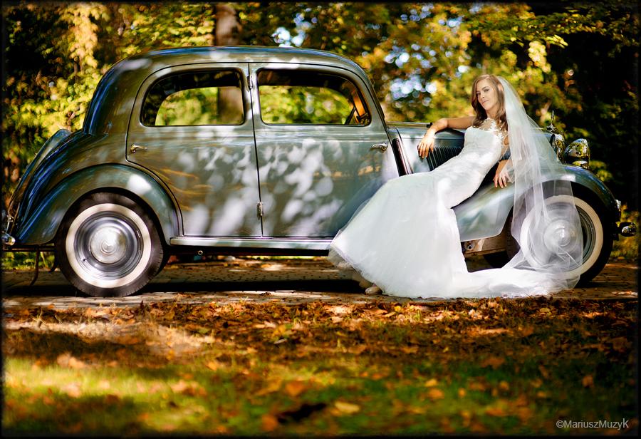 zabytkowy samochód ślub