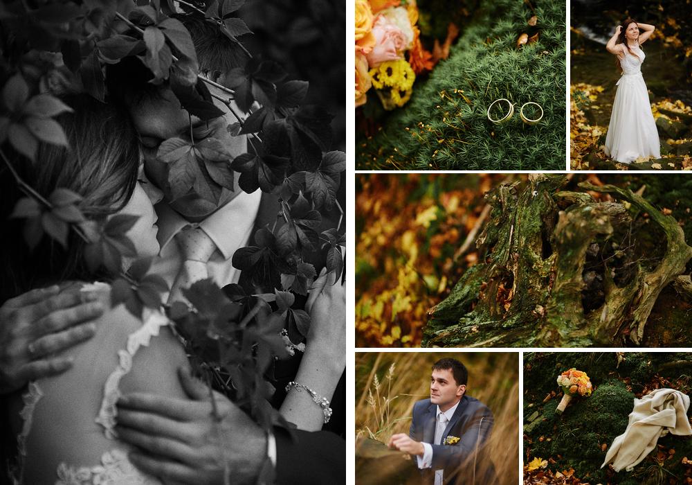 ślubna sesja zdjęciowa jesienią las